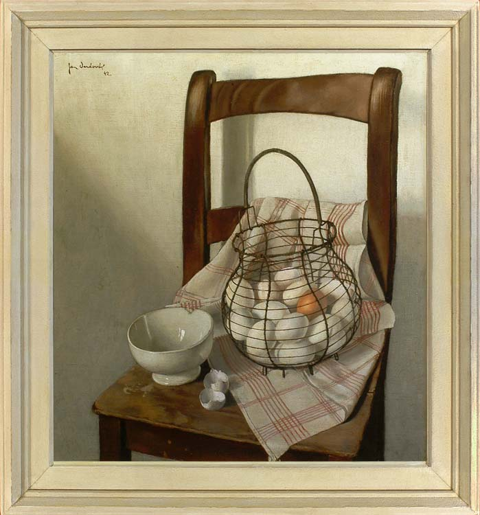 JAN VERDOODT Still life with a chair and basket of eggs