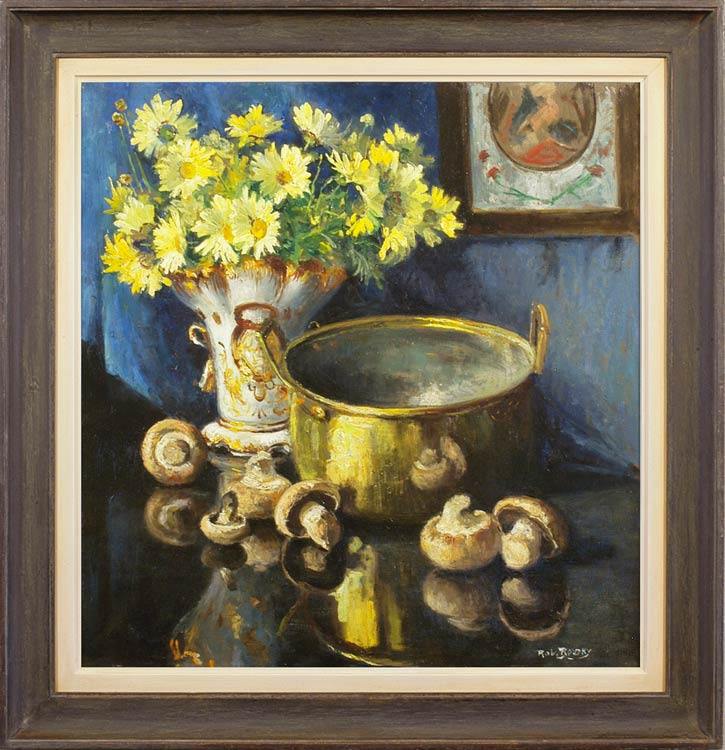 ROBERT BOUDRY Still life with mushrooms, preserving pan & a vase of daisies