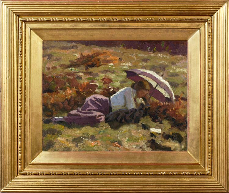 CHARLES H. HARRISON BURLEIGH Averil Burleigh reclining in a meadow