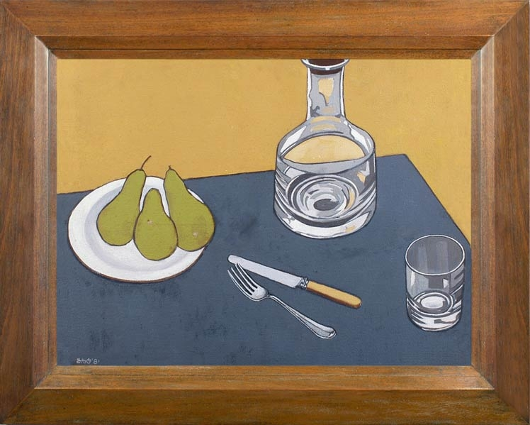 DUNCAN MORRIS OPPENHEIM - Still life with decanter & a plate of pears