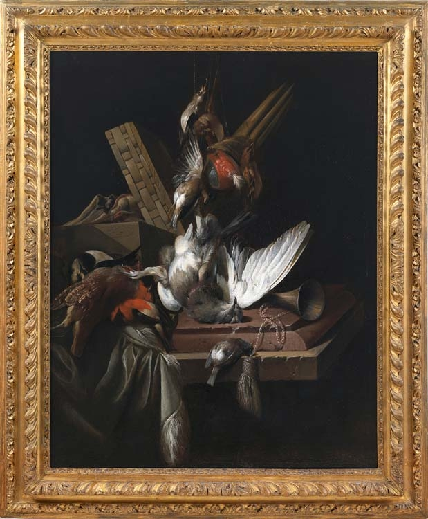 WILLIAM GOWE FERGUSON Still life with game birds & implements of the chase on a draped stone ledge