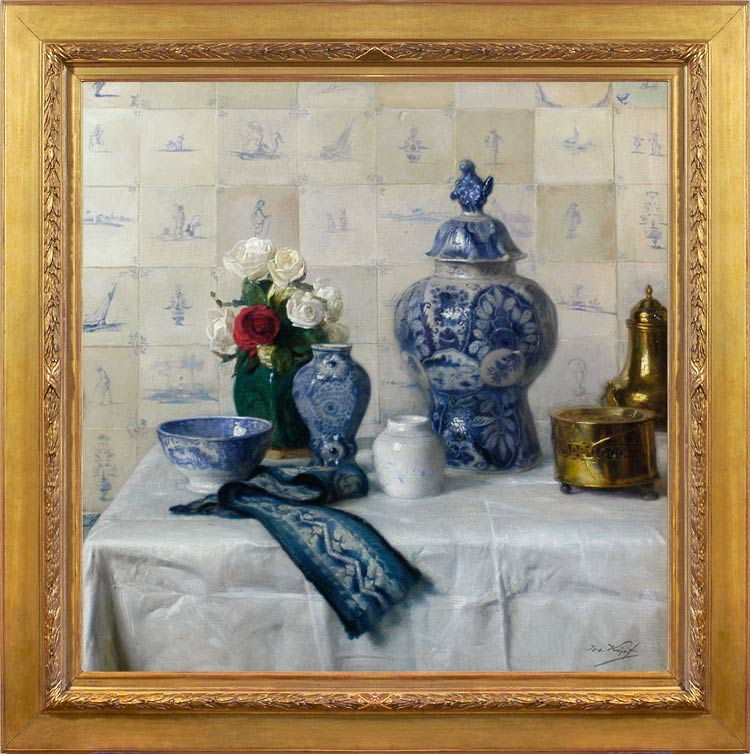 JOSEF KOPF Still life with blue & white porcelain