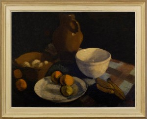 OSCAR MARIN Still life with earthenware bowls, a pitcher, eggs and fruit