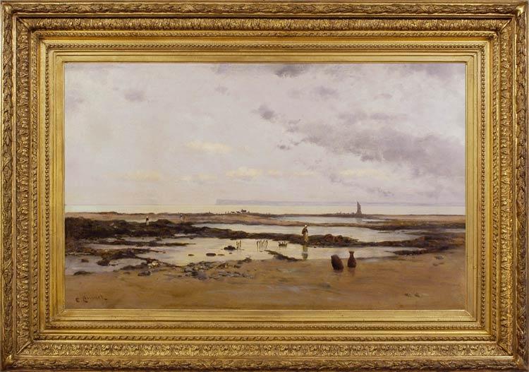CHARLES HENRI QUINET The beach at Villerville looking towards La Havre