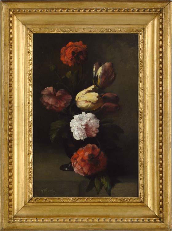 GERMAIN THEODORE RIBOT (1845-1893)  Still life of tulips and peonies