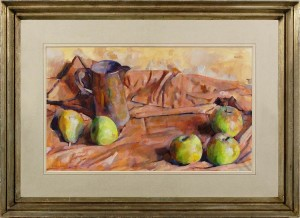 GEORGE WEISSBORT Arrangement with apples and pears and a glazed jug