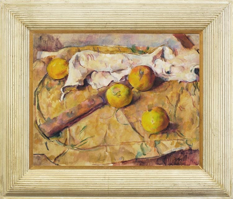 GEORGE WEISSBORT Still life with apples and a knife