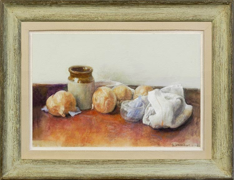 GEORGE WEISSBORT Still life with onions and a terracotta pot