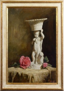 weissbort george still life with a statuette and pink roses