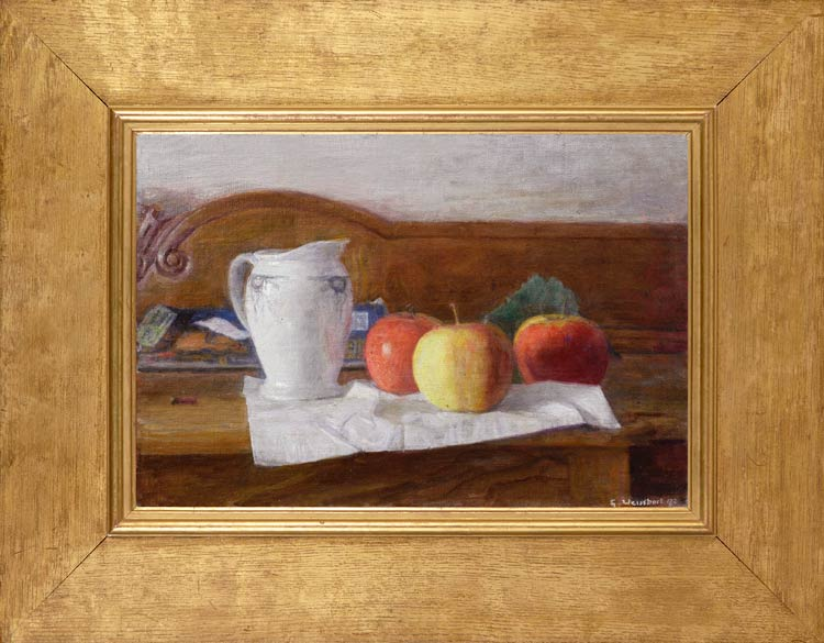 GEORGE WEISSBORT Still life with apples and a blue & white jug